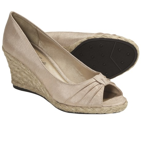 LifeStride Rixy Espradille Slip-On Shoes - Peep Toe (For Women) in Beige