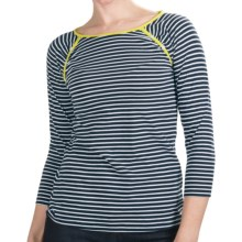 Lilla P Boat Neck Raglan Shirt - Pima Cotton, 3/4 Sleeve (For Women) in Dark Navy/White With Lemongrass - Closeouts