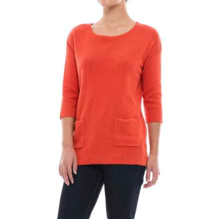 Lilla P Boat Neck Sweater - Cotton-Modal, 3/4 Sleeve (For Women) in Zinnia Heather - Closeouts