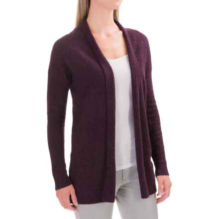 Lilla P Boucle Cardigan Sweater - Open Front (For Women) in Plum Boucle - Closeouts