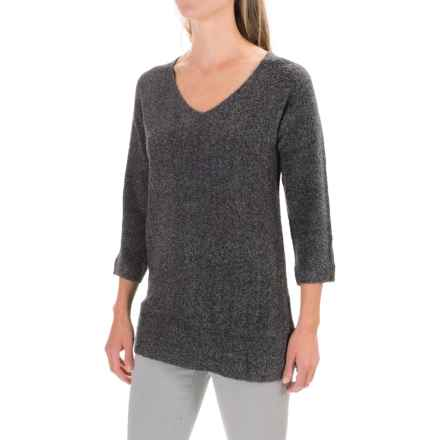 Lilla P Boucle Tunic Sweater - V-Neck (For Women) in Grey Boucle - Closeouts