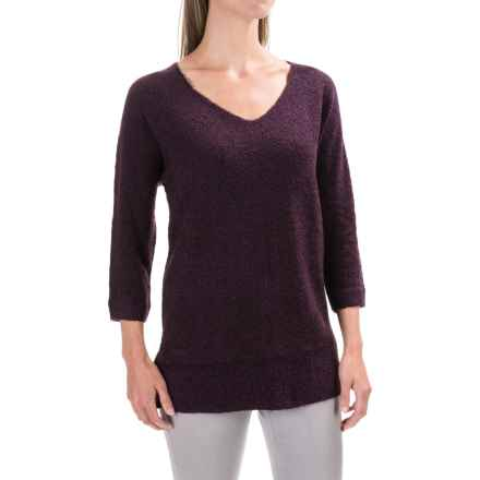 Lilla P Boucle Tunic Sweater - V-Neck (For Women) in Plum Boucle - Closeouts