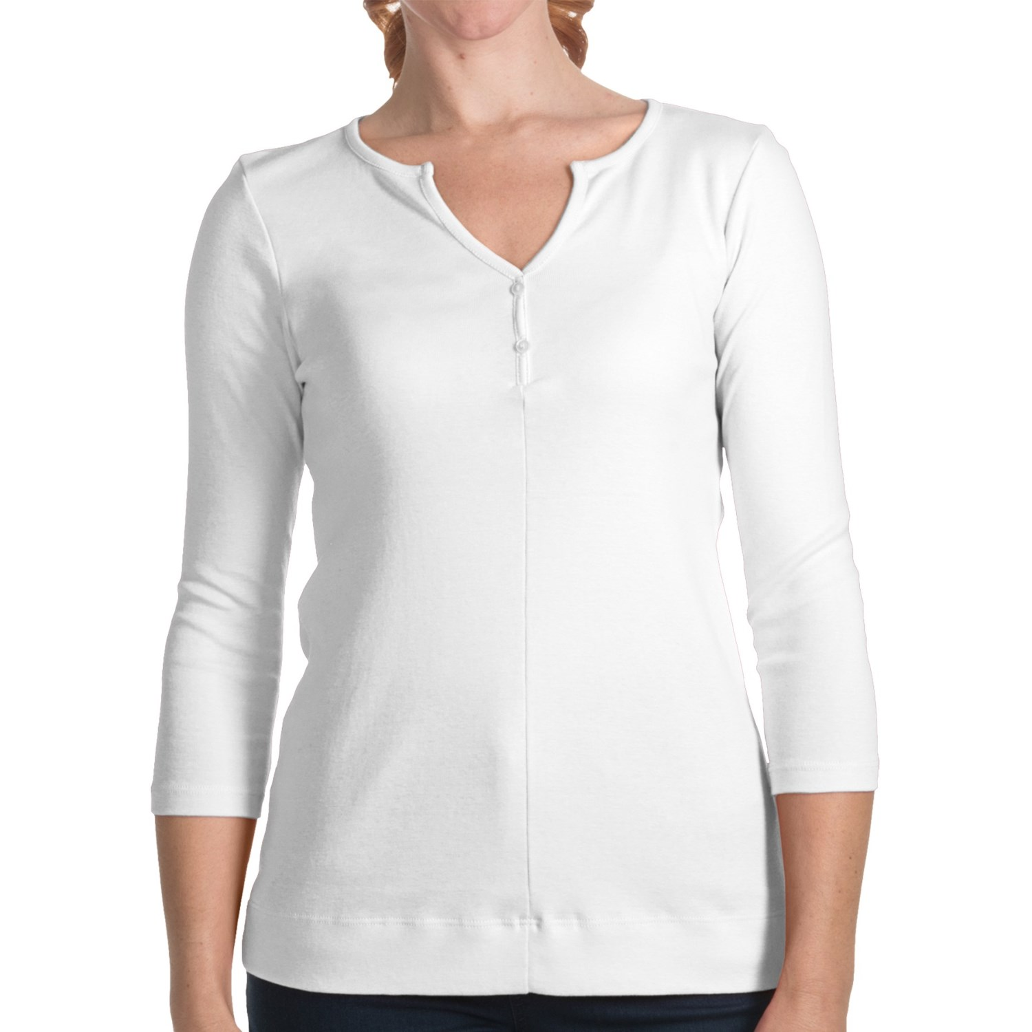 Lilla p classic cotton henley shirt 3 4 sleeve for women for Women s cotton henley shirts