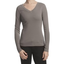 Lilla P Classic Cotton Rib Double V-Neck Shirt - Long Sleeve (For Women) in Safari - Closeouts