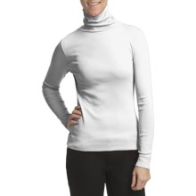 Lilla P Classic Cotton Rib Turtleneck - Long Sleeve (For Women) in White - Closeouts