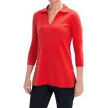 Lilla P Classic Cotton Solid Collared Tunic Shirt - 3/4 Sleeve (For Women) in Cherry - Closeouts