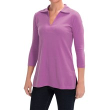 Lilla P Classic Cotton Solid Collared Tunic Shirt - 3/4 Sleeve (For Women) in Hyacinth - Closeouts