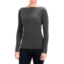 Lilla P Classic Rib Cotton Slit Neck Shirt - Long Sleeve (For Women) in Black - Closeouts