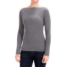 Lilla P Classic Rib Cotton Slit Neck Shirt - Long Sleeve (For Women) in Steel - Closeouts