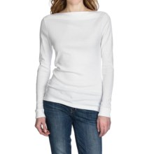 Lilla P Classic Rib Cotton Slit Neck Shirt - Long Sleeve (For Women) in White - Closeouts