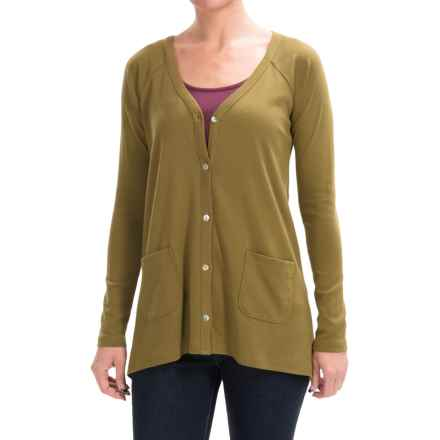 Lilla P Classic Rib Cotton Swing Cardigan Sweater (For Women) in Dill - Closeouts