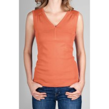 Lilla P Classic V-Neck Top - Rib Cotton, Sleeveless (For Women) in Nectar - Closeouts