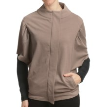 Lilla P Cocoon Zip Jacket - Stretch French Terry, Short Sleeve (For Women) in Gravel - Closeouts