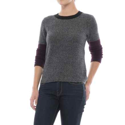 Lilla P Color-Block Boucle Sweater (For Women) in Grey Boucle - Closeouts