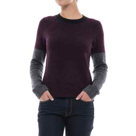 Lilla P Color-Block Boucle Sweater (For Women) in Plum Boucle - Closeouts