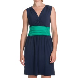 Lilla P Color-Block Shirred Waist Dress - Pima-Modal, Sleeveless (For Women) in Nautilus/Mojito