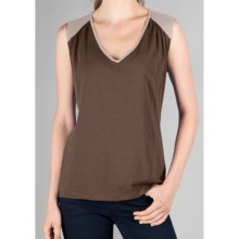 Lilla P Color Block Tank Top - Whisper-Weight Pima Cotton (For Women) in Stucco/Flax - Closeouts