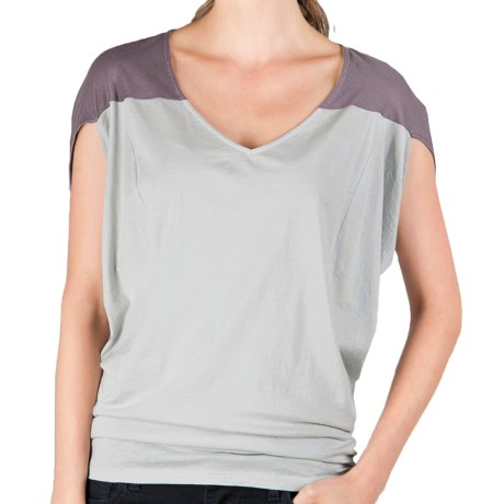 Lilla P Color Block Wedge Tank Top - Whisper Weight Pima Cotton (For Women) in Raven/Silver