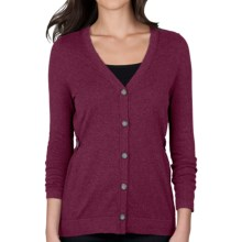 Lilla P Cotton-Cashmere Cardigan Sweater (For Women) in Bordeaux - Closeouts