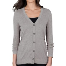 Lilla P Cotton-Cashmere Cardigan Sweater (For Women) in Heather Gray - Closeouts