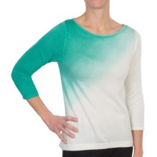 Lilla P Cotton-Modal Dip Dye Shirt - 3/4 Sleeve (For Women) in Ecru/Bermuda - Closeouts