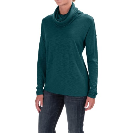 Lilla P Cowl-Neck Shirt - Pima Cotton/Modal, Long Sleeve (For Women) in Stream