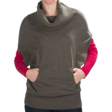 Lilla P Cowl Neck Sweater - Short Dolman Sleeve (For Women) in Bark - Closeouts