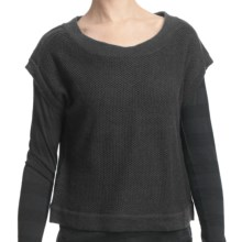 Lilla P Cropped Tuck Stitch Sweater - Short Dolman Sleeve (For Women) in Graphite - Closeouts