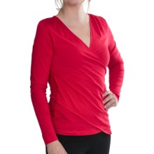 Lilla P Cross Panel Shirt - Pima Jersey, Long Sleeve (For Women) in Holly - Closeouts
