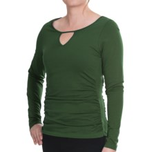 Lilla P Cutout Detail Shirt - Pima Jersey, Long Sleeve (For Women) in Forest - Closeouts