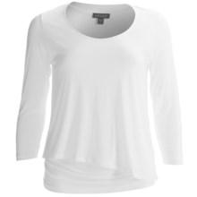 Lilla P Double Layer Shirt - Pima Cotton-Modal, 3/4 Sleeve (For Women) in White - Closeouts