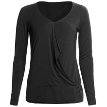Lilla P Drape Front Shirt - Pima Cotton, Long Sleeve (For Women) in Black - Closeouts