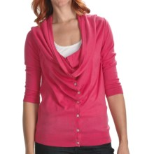 Lilla P Drape Neck Cardigan Sweater - Cotton-Modal, 3/4 Sleeve (For Women) in Rosebud - Closeouts
