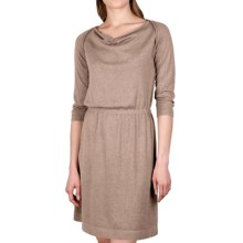 Lilla P Drape Neck Dress - 3/4 Sleeve (For Women) in Barley - Closeouts