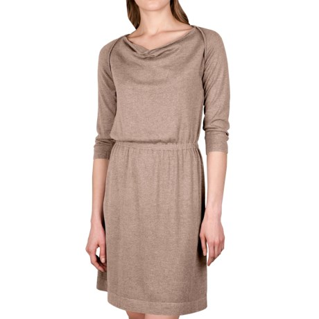 Lilla P Drape Neck Dress - 3/4 Sleeve (For Women) in Barley