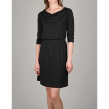 Lilla P Drape Neck Dress - 3/4 Sleeve (For Women) in Black - Closeouts