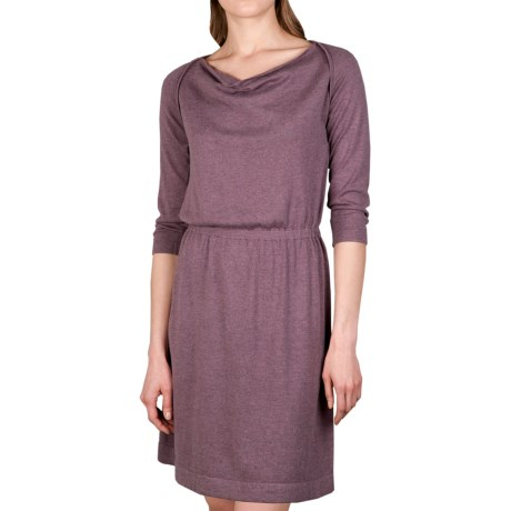 Lilla P Drape Neck Dress - 3/4 Sleeve (For Women) in Barley