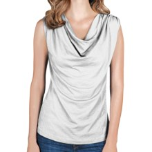 Lilla P Drape-Neck Tank Top - Pima Cotton-Modal (For Women) in White - Closeouts