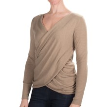Lilla P Draped Cross Front Sweater (For Women) in Barley - Closeouts