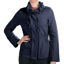 Lilla P Drawstring Collar Jacket - Stretch French Terry, 3/4 Sleeve (For Women) in Dark Navy - Closeouts