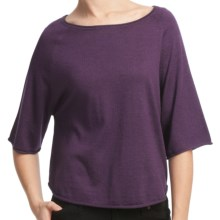 Lilla P Easy Cropped Sweater - Boat Neck, 3/4 Sleeve (For Women) in Violet - Closeouts
