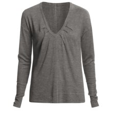 Lilla P Easy V-Neck Sweater - Long Sleeve (For Women) in Charcoal - Closeouts