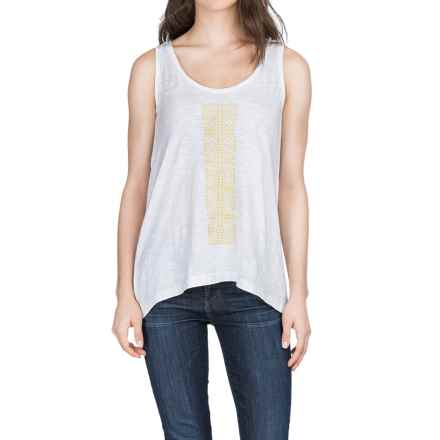 Lilla P Embroidered Slub Tank Top (For Women) in White/Marigold - Closeouts
