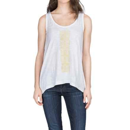Lilla P Embroidered Slub Tank Top (For Women) in White/Marigold - Closeouts