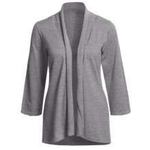 Lilla P Essentials Cardigan Sweater - Cotton-Cashmere, Open Front, 3/4 Sleeve (For Women) in Heather Grey - Closeouts