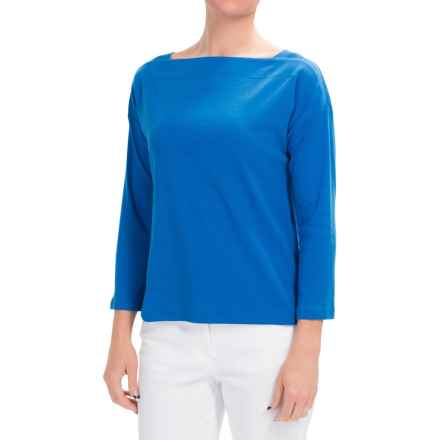 Lilla P Fine Rib Boat Neck Shirt - 3/4 Sleeve (For Women) in Aruba - Closeouts