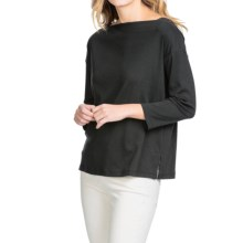Lilla P Fine Rib Boat Neck Shirt - 3/4 Sleeve (For Women) in Black - Closeouts