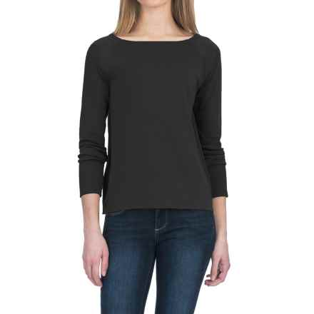 Lilla P Fine Rib Boat Neck Shirt - Pima Cotton, Long Sleeve (For Women) in Black - Closeouts