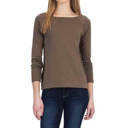 Lilla P Fine Rib Boat Neck Shirt - Pima Cotton, Long Sleeve (For Women) in Thyme - Closeouts