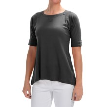 Lilla P Fine Rib Elbow Raglan Shirt - Elbow Sleeve (For Women) in Black - Closeouts